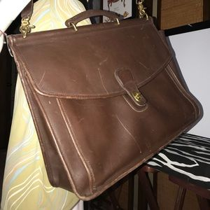 VTG COACH Leather Unisex Briefcase Laptop Bag EUC